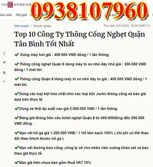 Thông cống nghẹt Quận Tân Bình uy tín chuyên nghiệp LH 0938107960