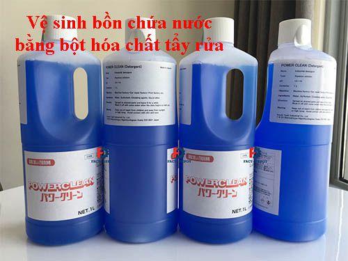 Vệ sinh bồn chứa nước bằng bột hóa chất tẩy rửa